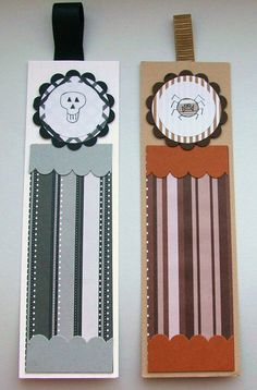 Halloween Bookmarks  Set of Two  Skull and by CraftyMushroomCards, £3.00