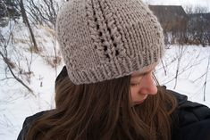 free Ravelry: Expedition hat pattern by Maude L. Baril - (a few comments said it was too short) - make longer by adding two extra pattern repeats, a plain knit round after decrease row 6, row 7 - k2tog, k1, ssk around. Row 8 - as row 7 and then pull a tail through the remaining stitches.
