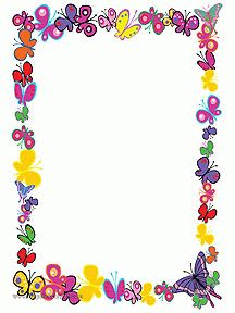 """Cute butterflies"": ""Colorful butterflies"" via Hugolescargot Boarder Designs, Page Borders Design, Printable Border, Free Printable Stationery, Boarders And Frames, School Frame, Borders For Paper, Butterfly Crafts, Floral Border"