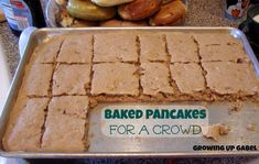 Here is a trick to make pancakes without spending hours standing at the stove... Simply make your favorite pancake batter and then bake it up. Cut in to squares or use cookie cutters to make fun shapes for the kids. great for the holidays!