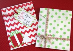 DIY Christmas Gift Card Holders + Free Printable Christmas Tags #christmas #gift #packaging