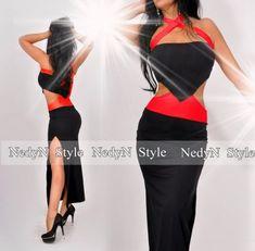 NedyN oldalán nyitott fekete - piros női ruha - viszkóz - AdryFashion női  ruha webáruház 8fe53d82d4