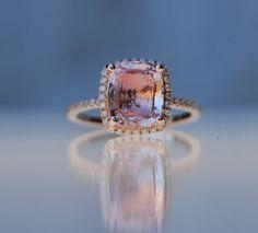 3.1ct Cushion peach champagne sapphire 14k rose gold diamond ring engagement ring