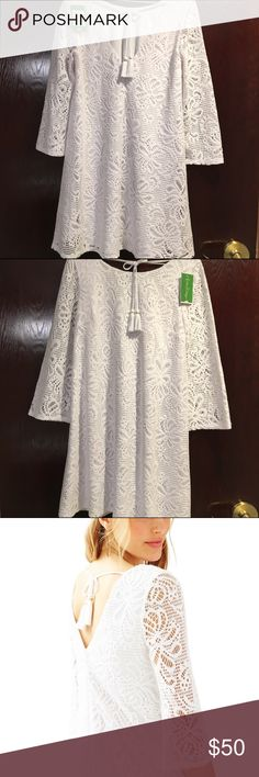 $4️⃣5️⃣NWT Lilly Pulitzer Foley Lace Dress Medium Ethereal, White Lace Lilly Pulitzer Foley Tunic Dress Size Medium, New With Tags, in factory plastic! This beautiful pure white lace dress with a back tassel tie closure is sure to become a favorite staple (especially with a patterned Murfee scarf for a pop of Lilly color)! Lined torso! $45 total 〽️. No trades. This was not purchased during the APS sale, however it is priced below the $54 APS price for a quick sale! Retail is $178! I will…