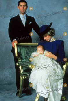 December 21, 1984: Prince Charles, Princess Diana with Prince Henry Charles Albert David a.k.a. Prince Harry at Windsor Castle on the day of his Christening at St. George's Chapel. Photo by Alpha-Globe Photos