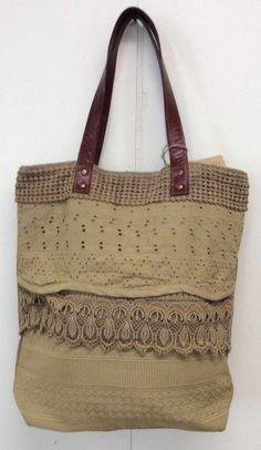 Mona B Bag Lacy Canvas Tote Recycled Canvas Purse New With Tags  #MonaB #ShoulderBag