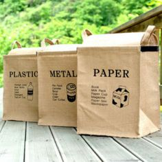 Trash Cans & Wastebaskets Jute Weave Square Recycle Bin Decorative Waste Baskets & Garden Recycling Station, Recycling Center, Recycling Bins, Large Storage Baskets, Linen Storage, Bag Storage, Garage Storage, Bin Bag, Recyle