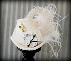 Ivory Steampunk Wedding Mini Top Hat, Alice in Wonderland hat, Mad Hatter Tea Party Hat, Mad Hatter, Royal Ascot, Tea Party, Renaissance on Etsy, $62.00