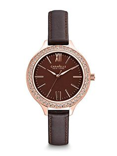 Caravelle New York Women's 44L124 Analog Display Japanese Quartz Brown Watch >>> Click image for more details.