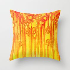 SUMMER SENTIMENTS - Bright Abstract Floral Garden Bold Summer Yellow Red Orange Flowers Painting Throw Pillow by EbiEmporium - $20.00
