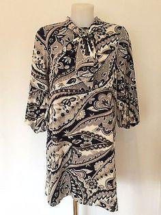 Tibi Printed Dress With Neck Detail / Grey & Navy Print / RRP: £450.00 in Dresses | eBay