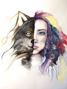 Transformation human/Wolfe watercolor painting by Artsan-Design Female Art, My Drawings, Watercolor Paintings, Girls, Anime, Design, Woman Art, Little Girls, Daughters