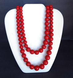 Vintage RICHELIEU Red Bead Necklace Long Multi Strand 1960s Retro Designer Signed