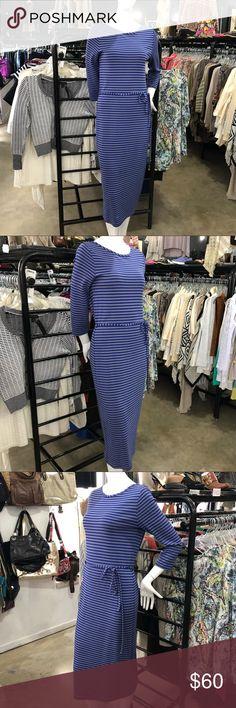 Boden Midi Length Waist Tie Striped Dress Boden striped midi dress; UK size 10, US size 6 Boden Dresses Midi