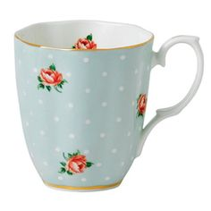 Royal Albert Polka Rose Vintage Style Large 13 oz. Mug made of fine bone china and lined in 22-carat gold is perfect for your morning coffee, afternoon tea, or a gift to any collector of all things vintage and lovely.