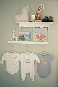 \\\ peach, aqua, gray, yellow, sage green nursery by @Irene Lovett, wall shelves \\\