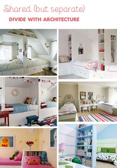 Shared (but separate) kid's bedrooms. I like the bottom left for a small room!