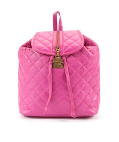 Pink (Pink) Jocasi Pink Quilted Leather Backpack  | 256831070 | New Look