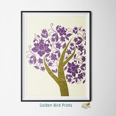 Purple and Gold Glitter Floral Tree - Printable Wall Art - Art Print - Digital Art Printable - Home Decor - Instant Download