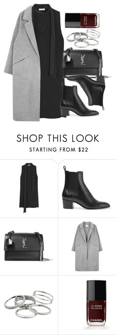 """Style #11436"" by vany-alvarado ❤ liked on Polyvore featuring Equipment, Christian Louboutin, Yves Saint Laurent, Kendra Scott and Chanel"