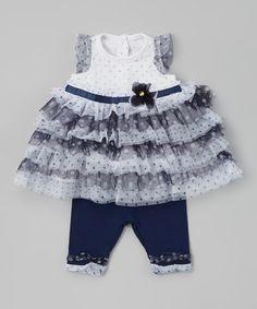 Look at this #zulilyfind! Navy Polka Dot Tunic & Leggings - Toddler by Nannette Baby #zulilyfinds