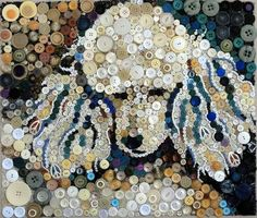 Poodle made of buttons