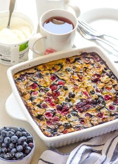 Quinoa Breakfast Bake is a delicious baked oatmeal recipe alternative with steel cut oats, berries, banana and optional protein powder. | ifoodreal.com