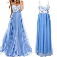 $11.8Stylish Lady Women New Fashion Sexy Sleeveless V-neck Lace Sling Party Ball Prom Gown Bridesmaids Long Dress