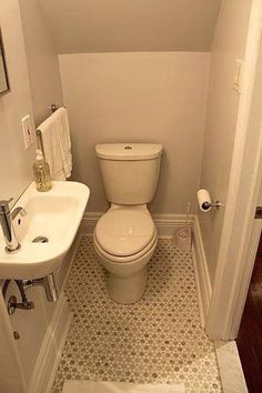 A powder room is just a rather more fancy way of referring to a bathroom or toilet room. Just like in the case of a regular bathroom, the powder room may present different challenges related to its interior design and… Continue Reading → Tiny Half Bath, Small Half Bathrooms, Tiny Bathrooms, Bathroom Design Small, Bathroom Layout, Small Sink, Small Toilet, Small Half Baths, Guest Toilet