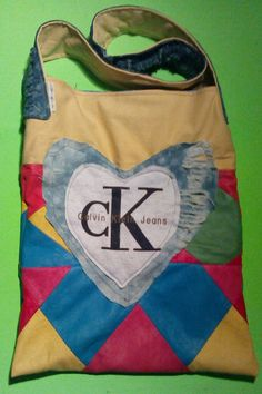 Leather ck jeans tote/upcycled/multicoloured by  one of a kind larissamyrie.art washable, strong, upcycled, fun, #fashion #style #art #barbie #shoppingbag #totebag #shoulderbag #slowfashion