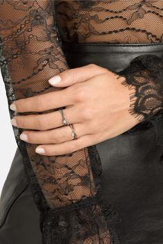 Inez and Vinoodh|Oxidized silver diamond interlinked rings|NET-A-PORTER.COM