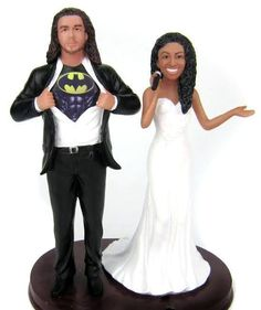 Let us create custom wedding cake topper that perfectly suits the two of you.  We have hundreds of unique styles to choose from.  The heads are custom sculpted to look like you.  We custom paint the toppers to look like you.  Perfect for bi-racial couples.