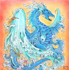 Kerby Rosanes - Mythomorphia  Water Dragon  Coloured with Marco Raffine pencils