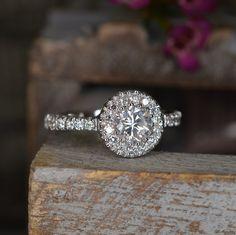 Handmade Cluster Setting Diamond and White Gold Engagement Ring on Etsy, $2,500.00