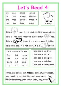 This worksheet is for Elementary school students at Beginner level who learn reading and their vocabulary is not too big. The worksheet is good for developing Reading and Writing skills with letters ee.There are 5 exercises for training. - ESL worksheets
