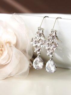 Bridal Earrings Crystal Wedding Earrings Silver Drop Earrings Flower Earrings Cherry Blossom Dangle Earrings Romantic Wedding Jewelry