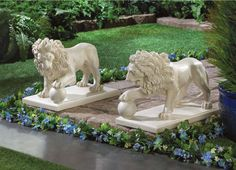 """With a paw perfectly poised atop an orb, this matching pair of magnificent lion statuary will guard your garden or walkway and add a regal flair to your kingdom.Weight: 18.8 lbs. Each is 16"""" x 8½"""" x 12"""" high. Polyresin. Outdoor Garden Statues, Outdoor Gardens, Small Gardens, Driveway Entrance, Walkway, Lawn Ornaments, Garden Ornaments, Garden Accessories, Yard Art"""
