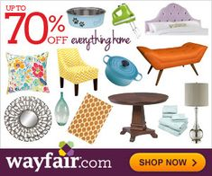 Save up to 70% on furniture and decor at Wayfair.com!  If you  sign up, you will also receive a promo code for another 10% off.  You can shop for a new look with their exclusive gallery of designer-decorated rooms.  Stay up-to-date on your account with the new MyWayfair, featuring notifications for exclusive promo codes and more.  You can even shop limited-time deals on furniture and decor at up to 70% OFF.  Wow!  http://ifreesamples.com/redecorate-save-70-wayfair/