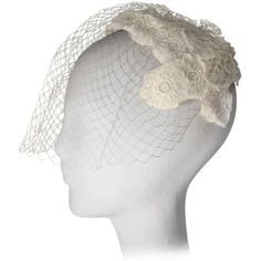 Preowned 1950s White Floral Crochet Lace Vintage Bridal Cocktail Hat... ($195) ❤ liked on Polyvore featuring accessories, hats, white, floral hat, holiday hats, lace hat, white hat and cocktail hat