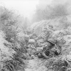 British trenches at Anzio, Italy, the man top right is W.J. (Danny) Matthews