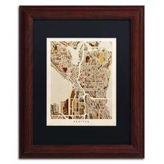 Trademark Fine Art Seattle Washington Street Map II Canvas Art by Michael Tompsett Black Matte, Wood Frame, Size: 11 x 14, Brown