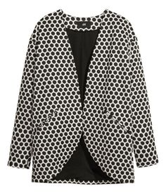 Jersey Jacket in black & white H&m Fashion, Spring Fashion, Fashion Online, Black Dots, Black And White, Hello Ladies, Spring Jackets, Cool Style, My Style