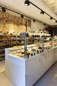 Bakery Shop Design, Coffee Shop Interior Design, Coffee Shop Design, Cafe Design, Mural Cafe, Cafe Counter, Bakery Decor, Bagel Shop, Bread Shop
