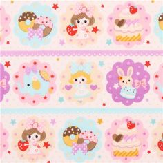 off-white donut sweets girl fabric by Kokka