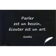 """CARTE POSTALE - CITATION DE GOETHE (PARLER EST UN BESOIN...) Carte Postale - Citation de Goethe Dimensions : 10.5 x 15 cm Citation : """" Parler est un besoin, écouter est un art """" 1,50 € 1001cado"""