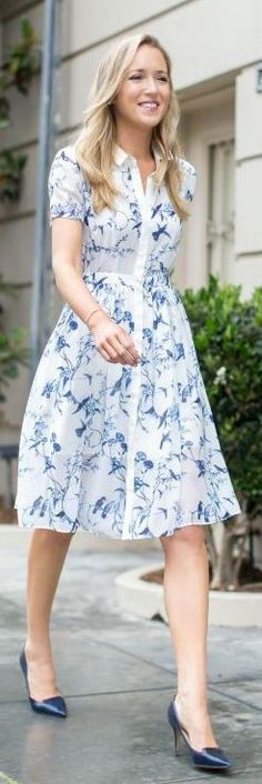 Memorandum Blue Floral Midi Shirt Dress