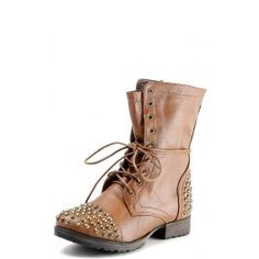 Georgia28 Studded Lace Up Combat Boots TAN