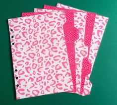 Filofax A5 Organiser Dividers - Beautiful Pink Animal Prints set of 5 Laminiated in Business, Office & Industrial, Office Equipment & Supplies, Office Supplies & Stationery | eBay