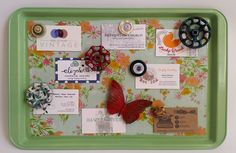 Spray-paint an old cookie sheet an eye-catching color, then cover it in pretty fabric to create a cheery memo board for your home office or mudroom.  Get the tutorial at Sadie Seasongoods.
