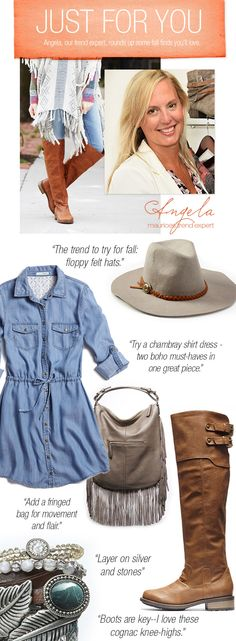 Angela, our trend expert at maurices, rounds up some fall finds you'll love. Boots, Hats, Fringe! Check out all of her must haves!